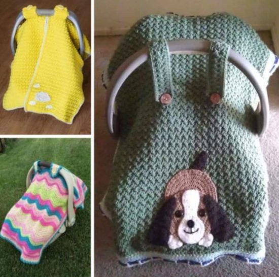 crochet elephant car seat cover