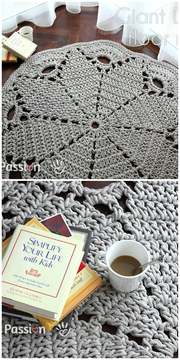 Giant Crochet Doily Rug Free Pattern The Whoot