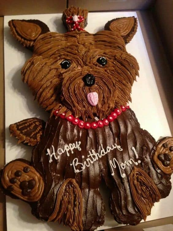 Yorkie Dog Cake With Printable Template Tutorial Photos