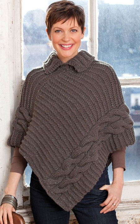 Beginner Knitting Poncho : Knitted poncho patterns with video tutorial for beginners