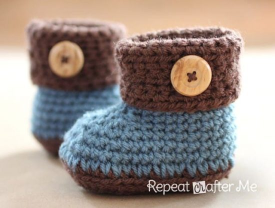 Crochet Cuffed Baby Booties Free Pattern Video Tutorial