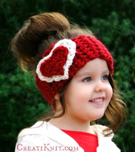 crochet heart ear warmer pattern