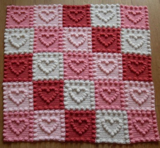 Knit Heart Squares Baby Blanket Pattern Is The Sweetest