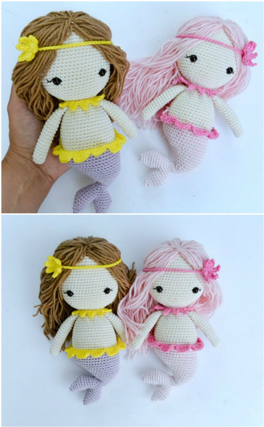Free Amigurumi Mermaid Doll Pattern - The Thrifty Kiwi | 855x529