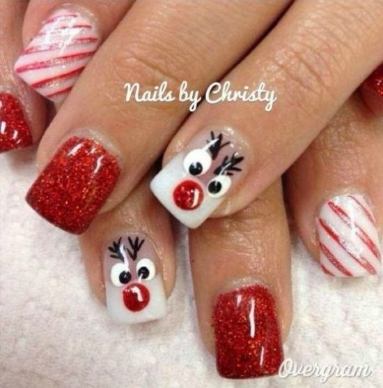 Christmas Lights Nails Pinterest: Christmas Nail Polish Ideas Pinterest Best Video Instructions