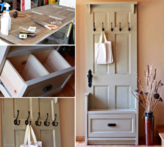 The clever creator has turned a door into a bench with a few simple cuts. What a brilliant idea this is. You can find the instructions for this project here & Door Entryway Bench DIY Ideas Video Instructions