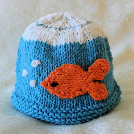 Knitted fish hat patterns for Baby fishing hat