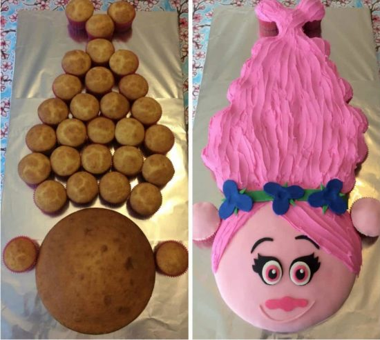 Via Mum Turned Mom Poppy Trolls Pull Apart Cupcake Cake
