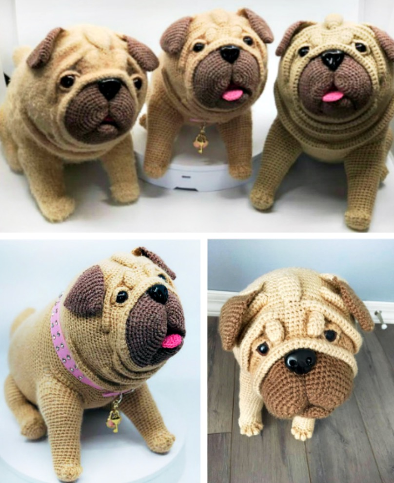 Milo the pug crochet pattern in english | 990x808