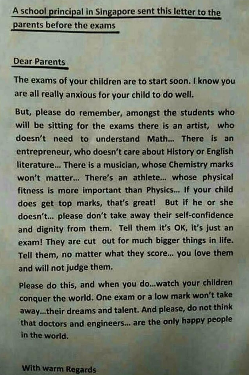 letter to parents from principal in singapore