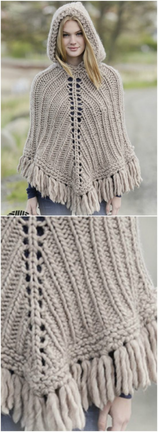 Knitted Poncho Patterns With Video Tutorial For Beginners