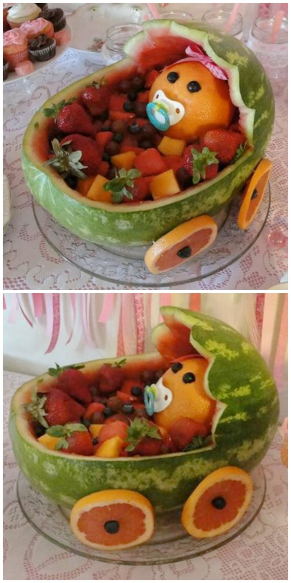 How To Carve A Watermelon Baby Carriage Video