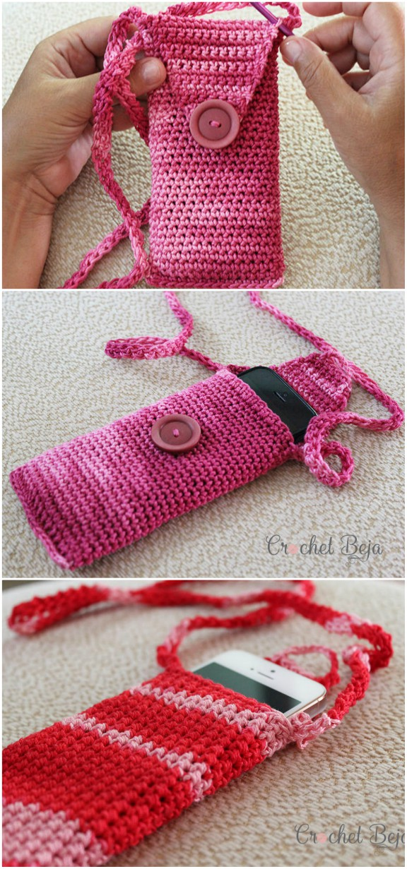 How To Make Crochet Cell Phone Pouch Video Instructions