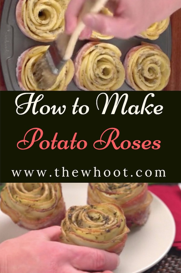 potato roses with bacon