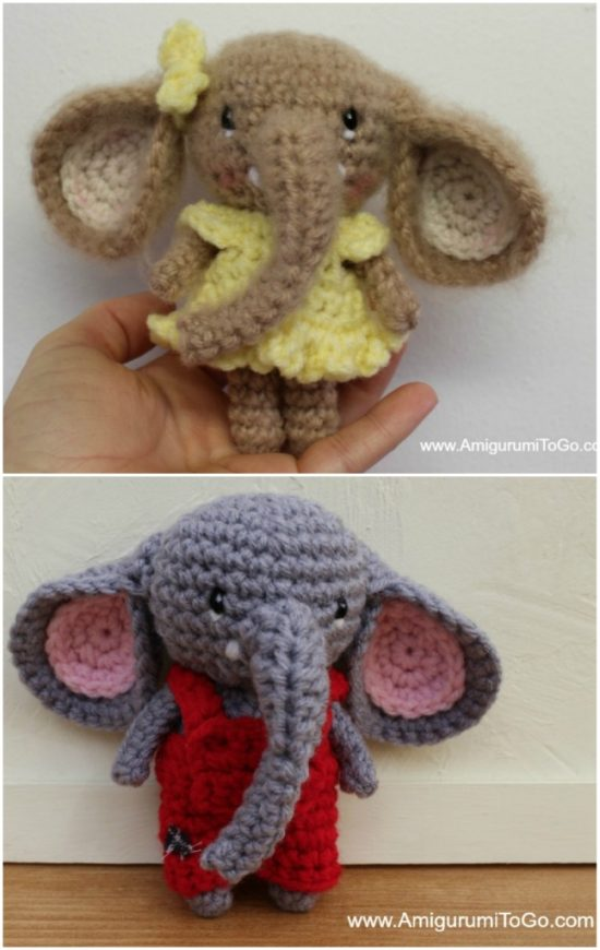 Elton the Elephant Free Crochet Pattern - Stuffed Hearts | 870x550