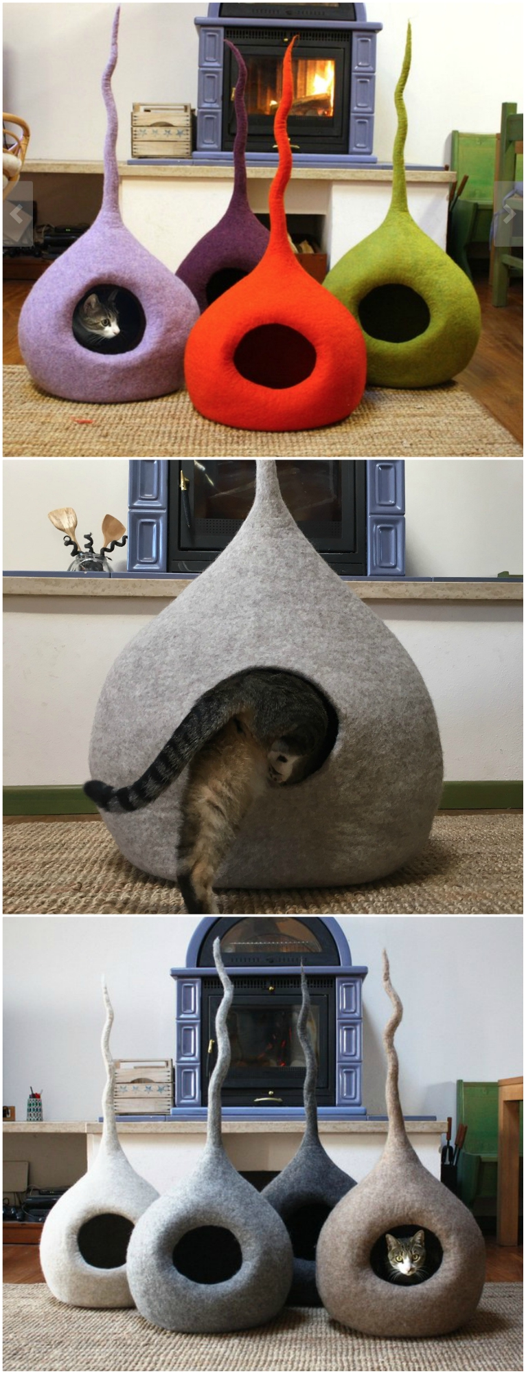 wooly felt cat caves