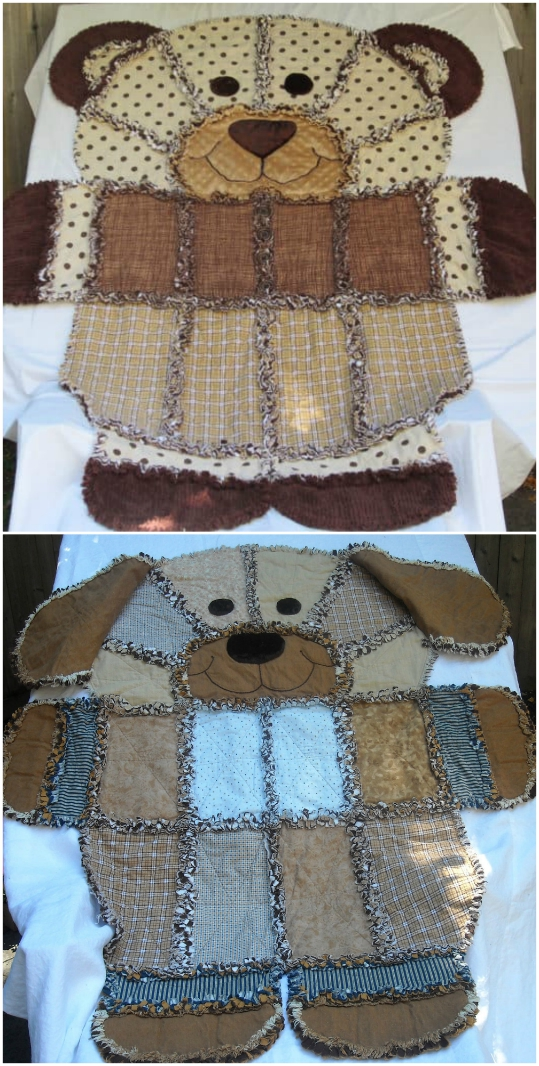 Teddy Bear Shaped Rag Quilt Pattern The Whoot