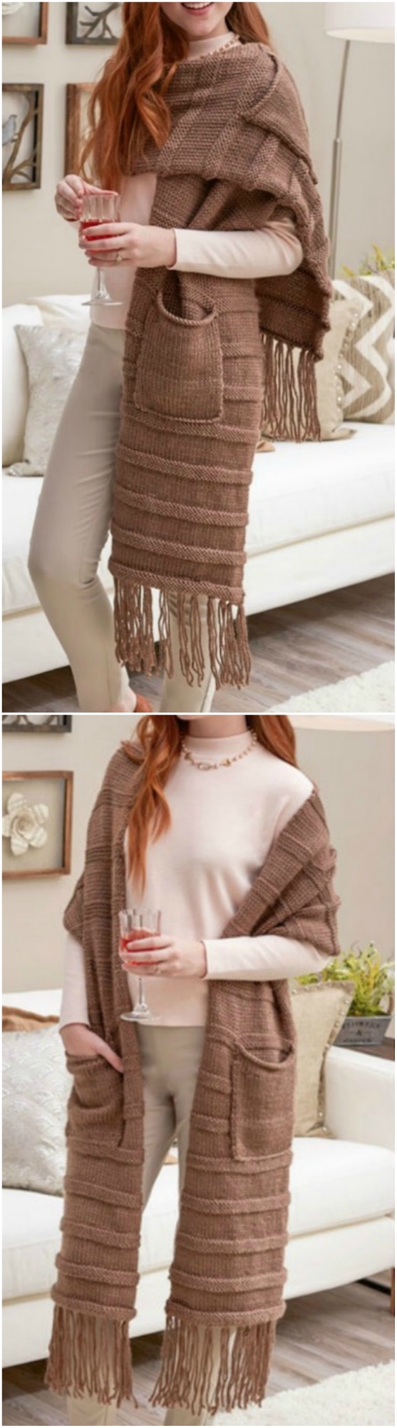 free knitted scarf with pockets pattern