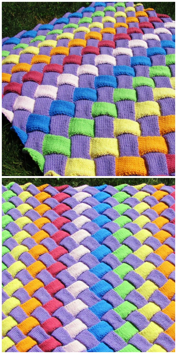 entrelac knitted baby blanket