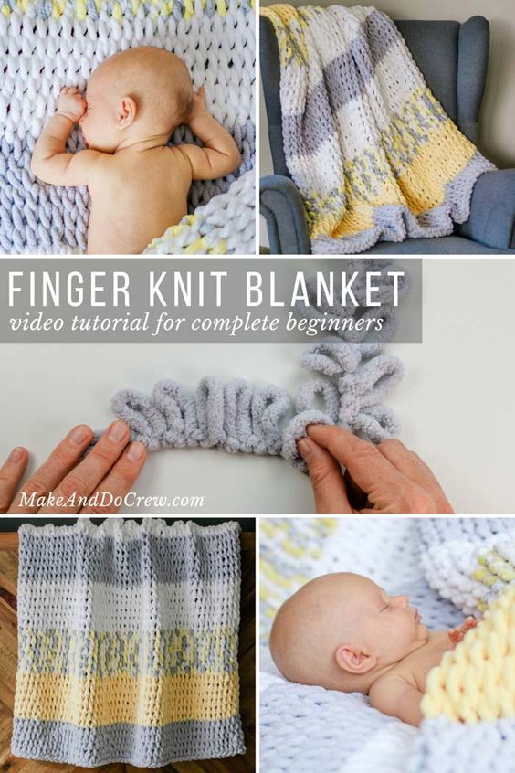 how to finger knit baby blanket