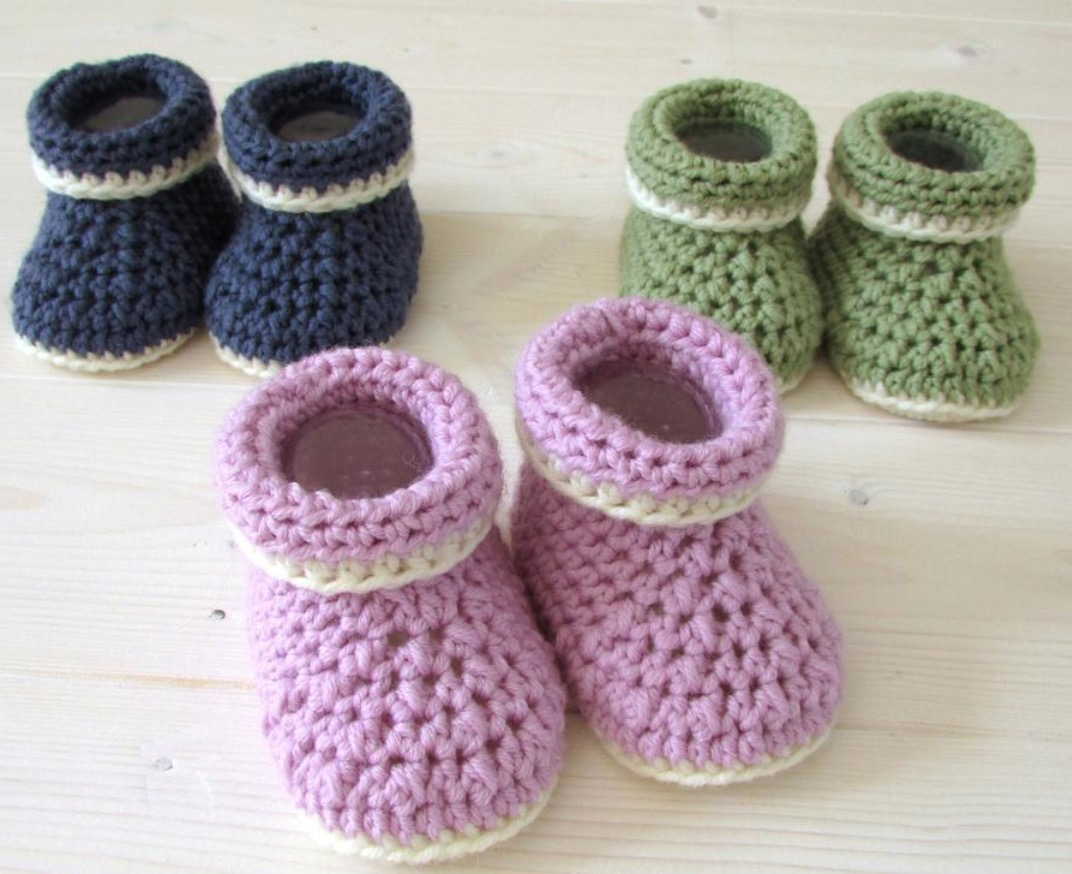 Crochet Pattern For Cuffed Baby Booties The Whoot