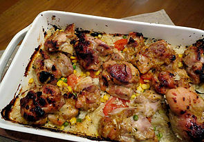 one-dish moroccan chicken rice bake