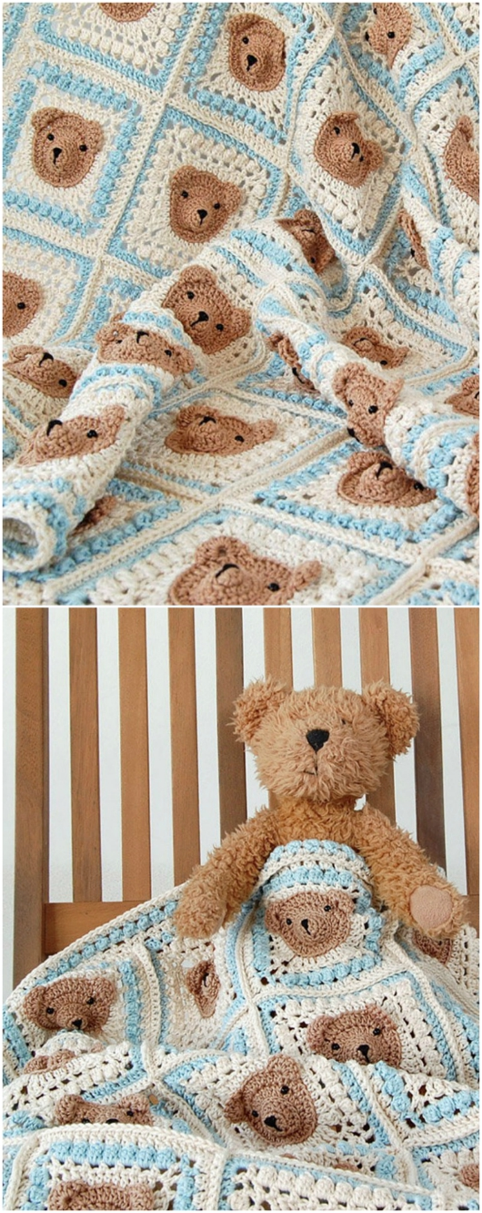 Teddy Bear Granny Square Blanket Pattern The Whoot