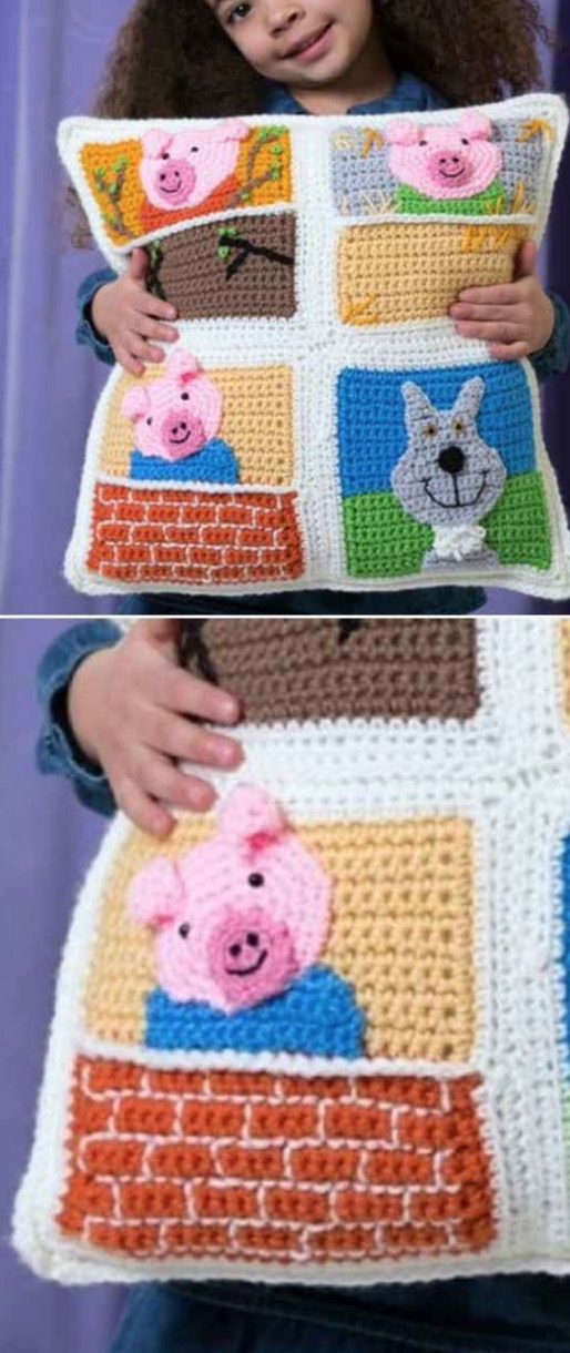 Fun Crochet Kids Pillows Free Patterns | Crochet cushion pattern ... | 1220x514