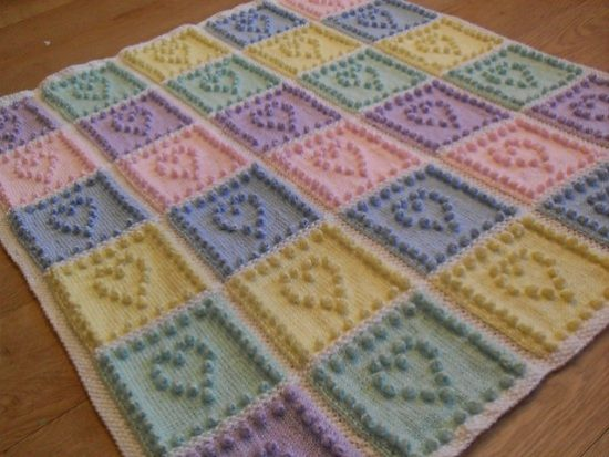 Knit Heart Squares Baby Blanket Pattern