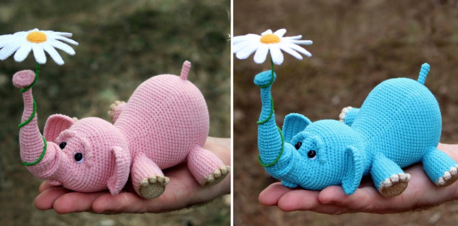 Amazon.com: Crochet Elephant Lovey, Security Blanket, baby shower ... | 456x922