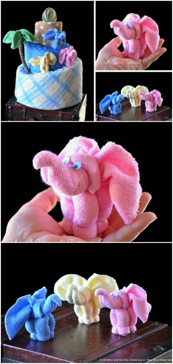 baby washcloth elephants