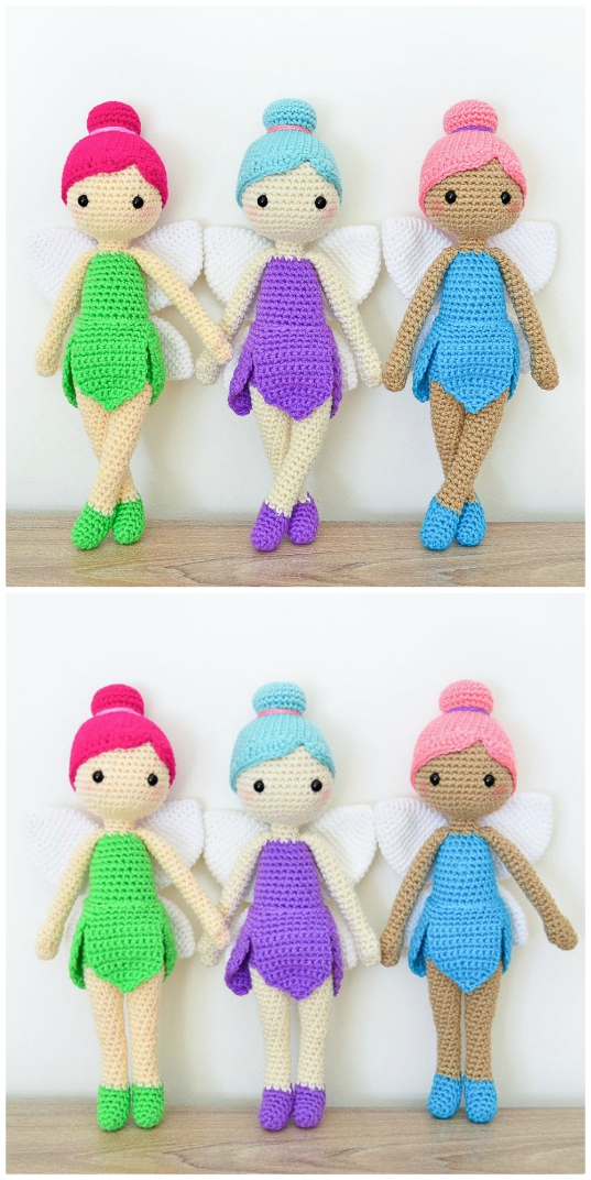 Doll amigurumi: Fairy doll Pattern, doll crochet by Vina amigurumi | 1072x537