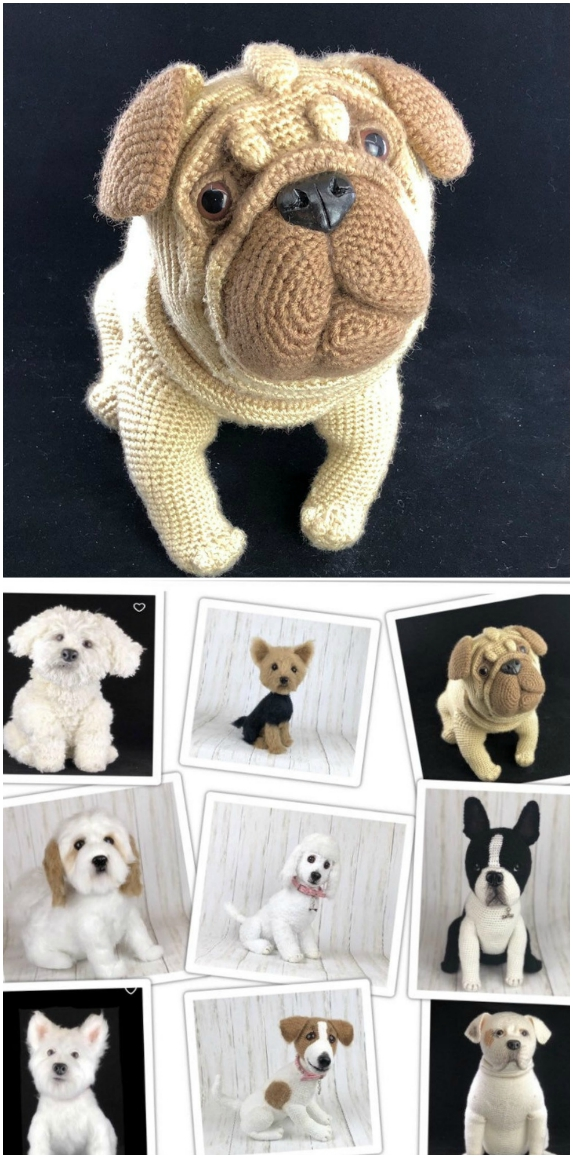 Baby Pug Dog amigurumi pattern - Amigurumi Today | 1158x573