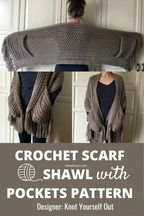 crochet scarf shawl with pockets pattern