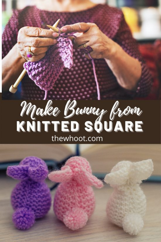 make bunny from a knitted square