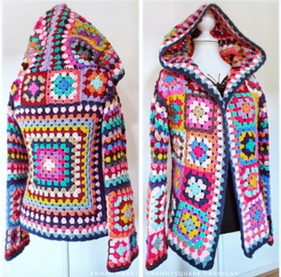 Hooded Granny Square Cardigan Pattern